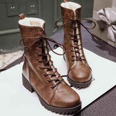 Tie Up PU Leather Short Boots