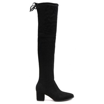 Chunky Heel Flock Pointed Toe Thigh Boots