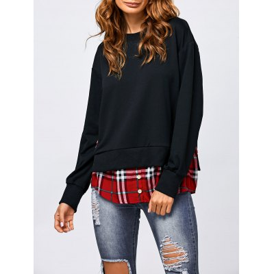 Side Slit Plaid Trim Sweatshirt
