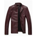 Zip Pocket Stand Collar PU Leather Jacket for sale