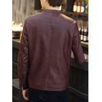 Zip Pocket Stand Collar PU Leather Jacket deal