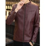 cheap Zip Pocket Stand Collar PU Leather Jacket