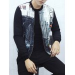cheap Stand Collar Zip Up Graphic Jacket
