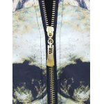Abstract Print Stand Collar Zip Up Jacket for sale