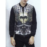 Abstract Print Stand Collar Zip Up Jacket