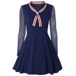 Bow Tie Collar Lace Spliced A-Line Dress