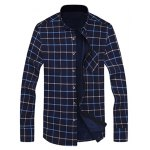 cheap Long Sleeve Chest Pocket Flocking Grid Shirt