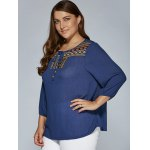 Plus Size Tie Front Peasant Blouse deal