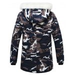 cheap Zip Up Camouflage Fur Hooded Padded Coat