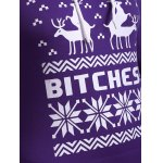 Snowflake Elk Print Christmas Longline Purple Hoodie photo