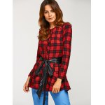 cheap PU Belted Tartan Shirt