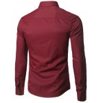 cheap Male Pure Color Long Sleeve Formal Pink Shirt