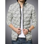 cheap Zip Up Paisley Printed Quilted Jacket