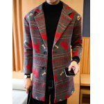 Notch Lapel Zigzag Animal Pattern Woolen Coat