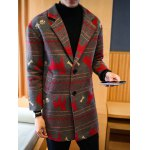 cheap Notch Lapel Zigzag Animal Pattern Woolen Coat