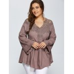 Lace Spliced Crochet Plus Size Blouse deal