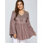 cheap Lace Spliced Crochet Plus Size Blouse