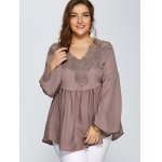 Lace Spliced Crochet Plus Size Blouse for sale