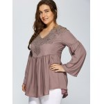 best Lace Spliced Crochet Plus Size Blouse