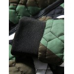Stand Collar Geometric Camo Padded Jacket deal