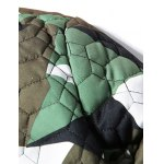 cheap Stand Collar Geometric Camo Padded Jacket