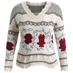 Plus Size Floral Pattern Scalloped Edge Sweater