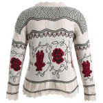 cheap Plus Size Floral Pattern Scalloped Edge Sweater