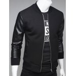 cheap PU Leather Splicing Stand Collar Zip Up Jacket