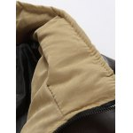 Stand Collar PU Spliced Padded Jacket deal
