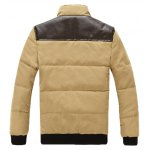 cheap Stand Collar PU Spliced Padded Jacket