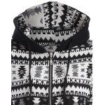 Zip Up Tribal Jacquard Drawstring Hoodie deal
