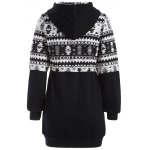 cheap Zip Up Tribal Jacquard Drawstring Hoodie