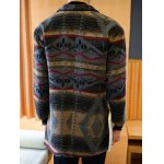 Side Pocket Geometric Pattern Woolen Coat deal