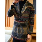 cheap Side Pocket Geometric Pattern Woolen Coat
