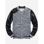 Color Block PU Leather Splicing Stand Collar Baseball Jacket