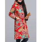 cheap Ethnic Style Floral Paint Quilted Jacket