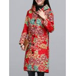 Ethnic Style Floral Paint Quilted Jacket