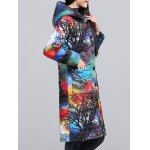 cheap Ethnic Style Color Block Paint Quilted Coat