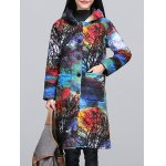 Ethnic Style Color Block Paint Quilted Coat