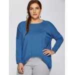 cheap Plus Size High Low Pullover Sweater
