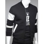 cheap Paneled Stand Collar Ribbed Zip Up Jacket
