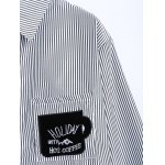 Letter Patched Striped Number Embroidered Shirt deal