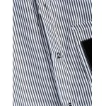 Letter Patched Striped Number Embroidered Shirt photo