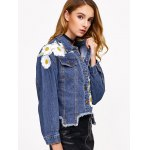 Floral Embroidery Denim Jacket With Asymmetric Hem for sale