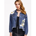 Floral Embroidery Denim Jacket With Asymmetric Hem deal