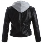 cheap Plus Size Panel Hooded Faux Leather Jacket