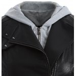 Plus Size Panel Hooded Faux Leather Jacket deal