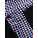 Plaid Splicing Long Sleeve Shirt for sale