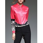 cheap Abstract Painting Slim  Fit Satin Shirt