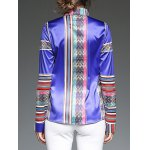 Colorful Stripe Patched Slim  Fit Satin Shirt for sale